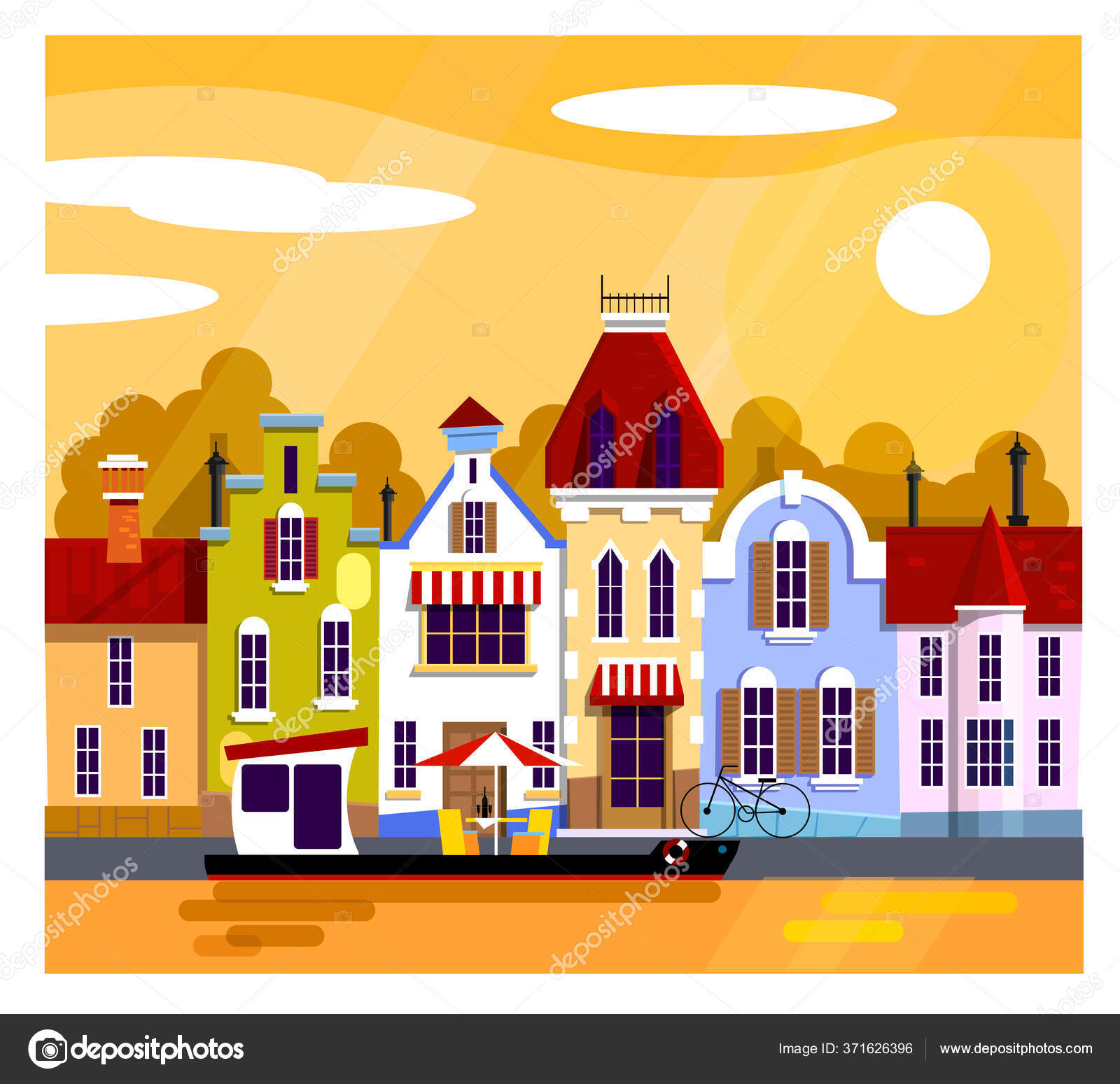 depositphotos 371626396 stock illustration cool vector background amsterdam street