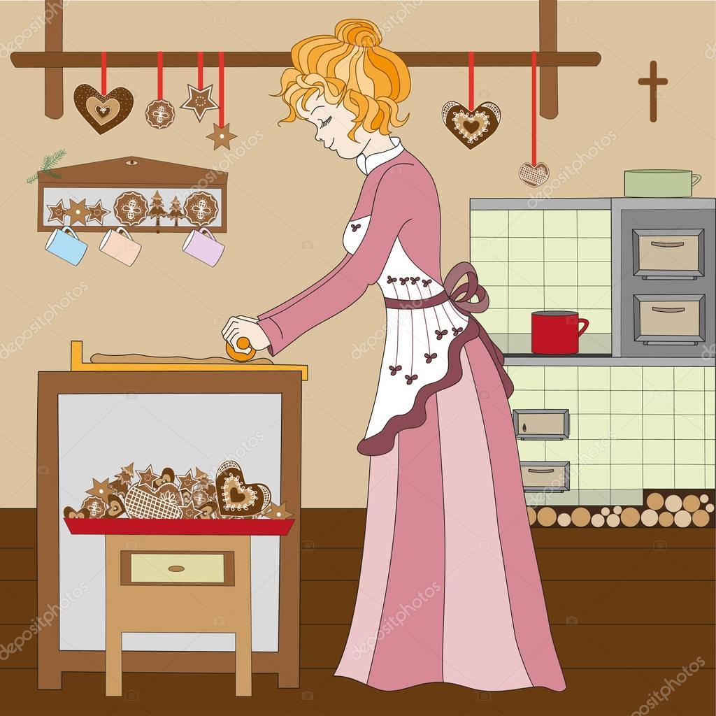 Девочка печет пироги по картинке