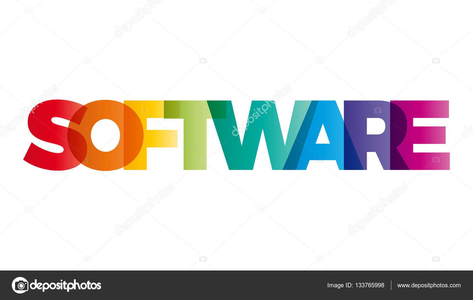 La palabra Software. Bandera de vector con el arcoiris de colores de ...