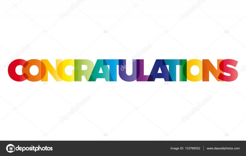 spandoek gefeliciteerd Het woord gefeliciteerd. Vector spandoek met de tekst gekleurd ra  spandoek gefeliciteerd