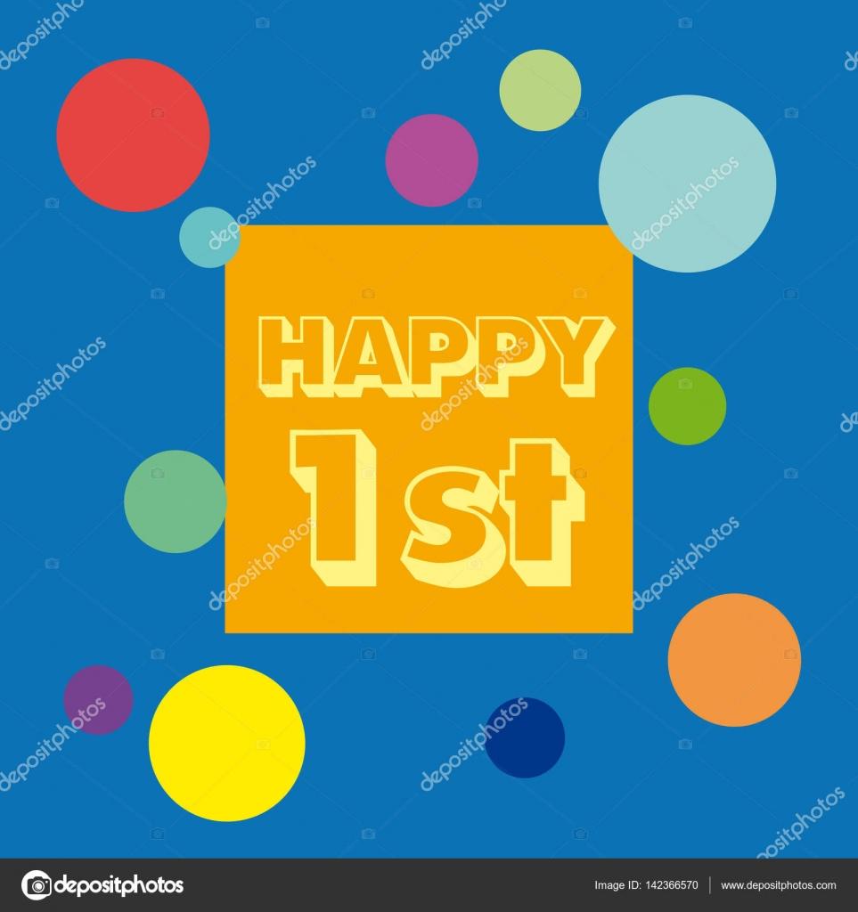 Vektor 1 Jahrestag Hintergrund Feiern Sie Den Geburtstag