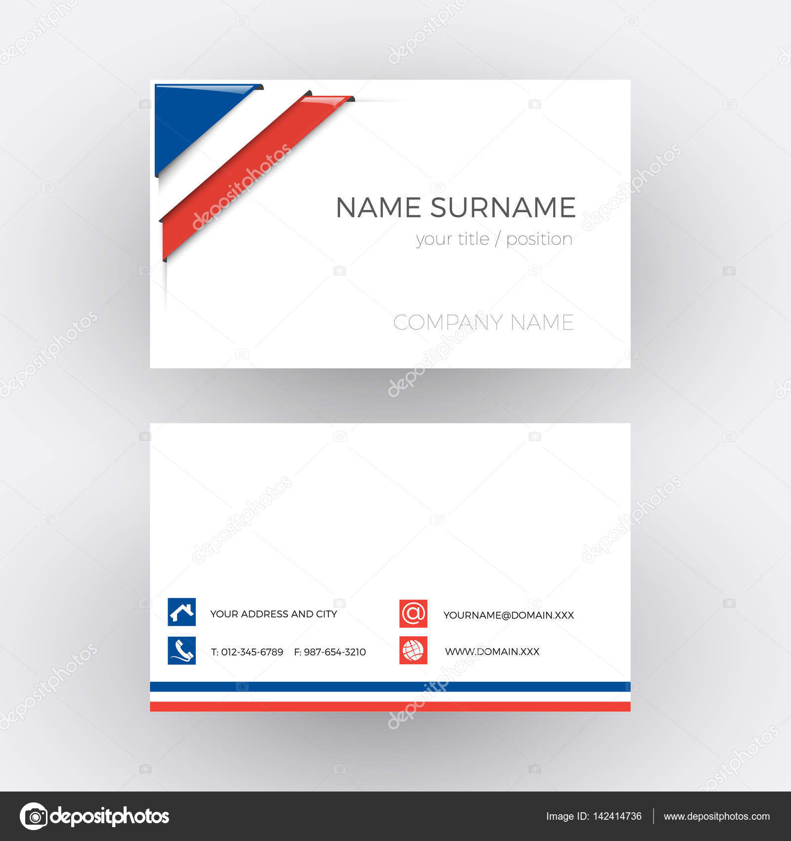 Vector Abstract Corner with French flag. Business card — Stock ...