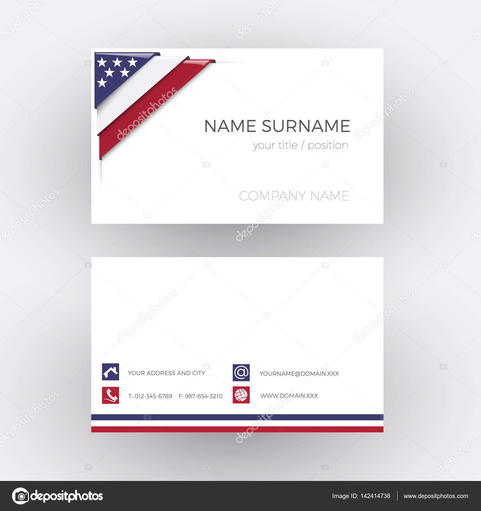 Vector Abstract Corner with American flag. Business card — Stock ...