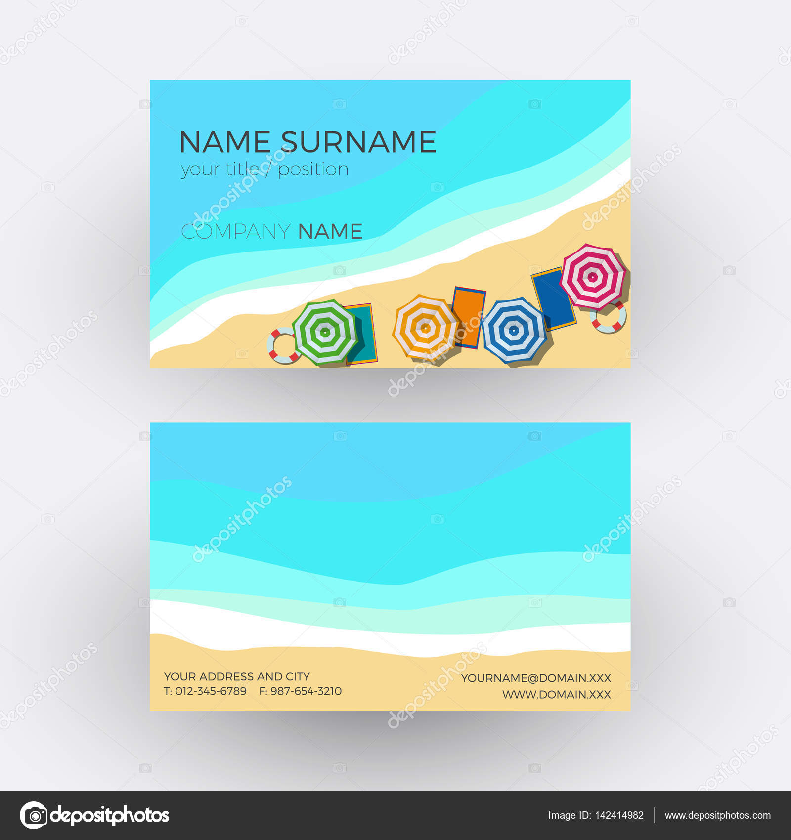 Vector Abstract summer on the beach background. Business card ...
