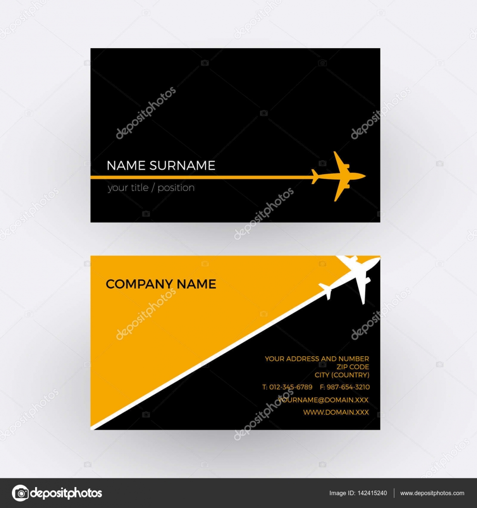 Vector Air Travel Background Black And Orange Business Card Stock