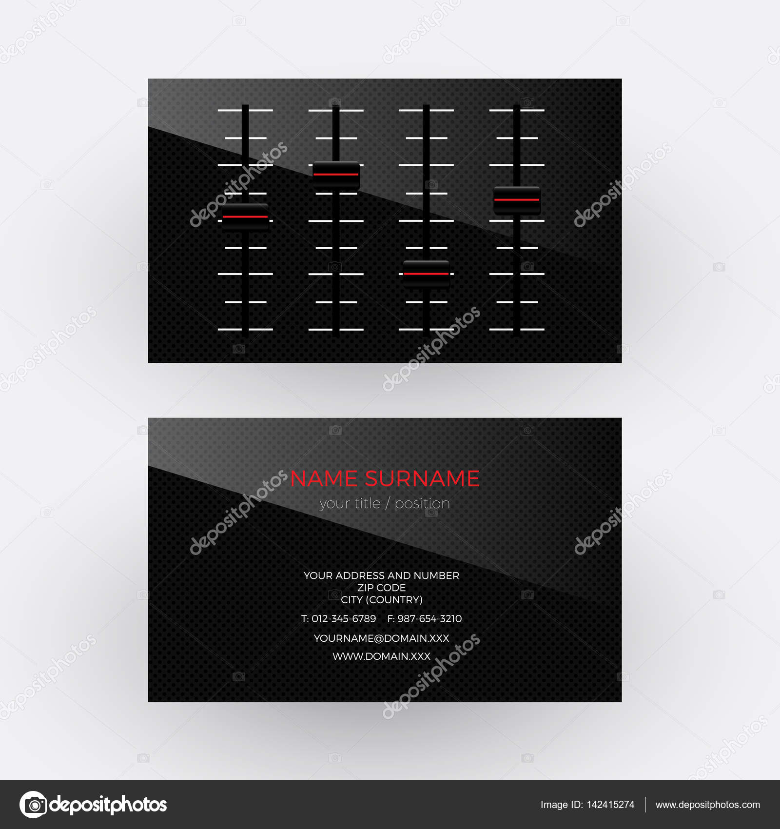 Vector abstract black mixer. Musician and singer business card ...