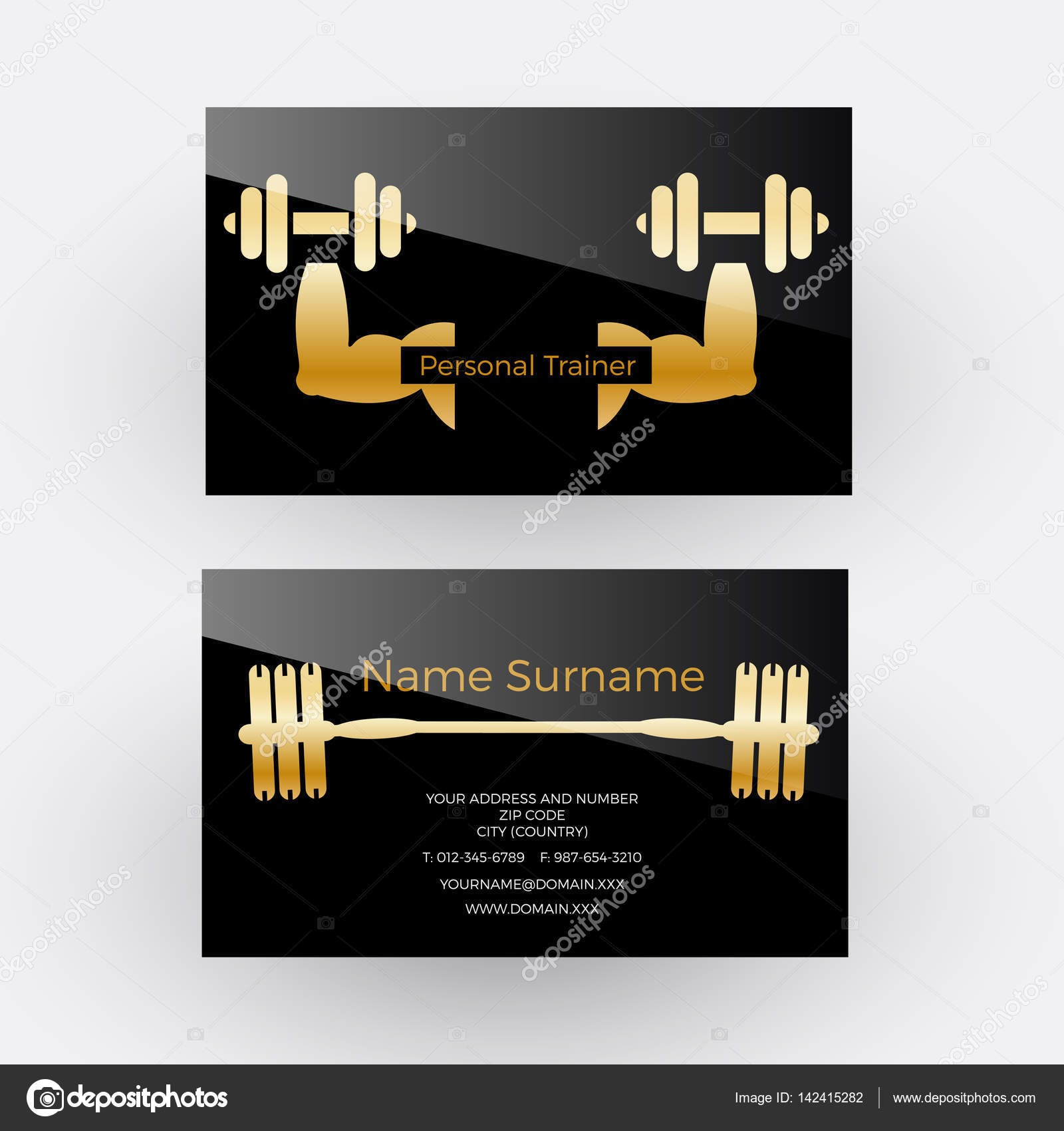 Vector abstract sign personal trainer. Business card — Stock Vector ...