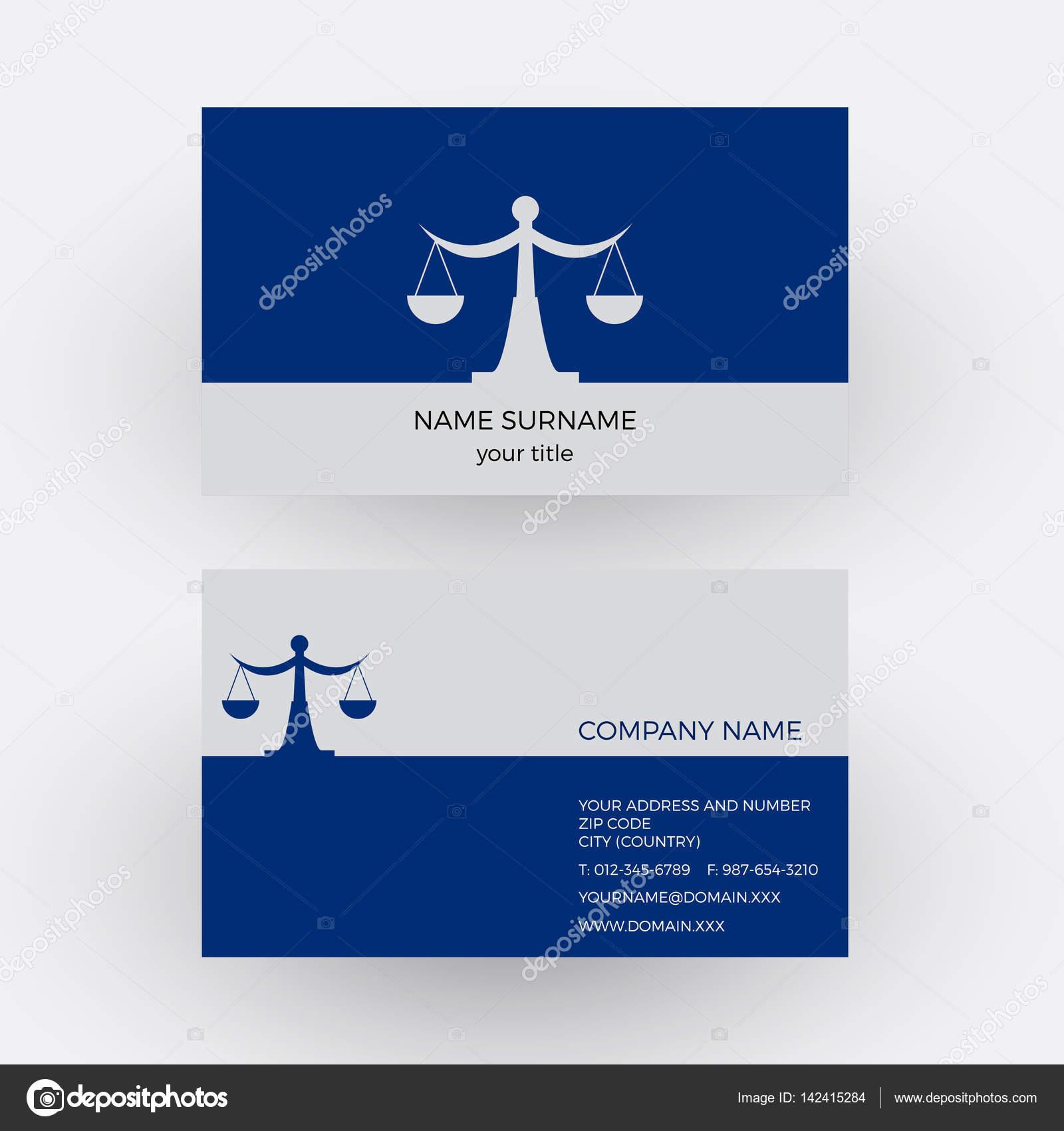 Vektor Abstrakte Waage Und Waage Rechtsanwalt Visitenkarte