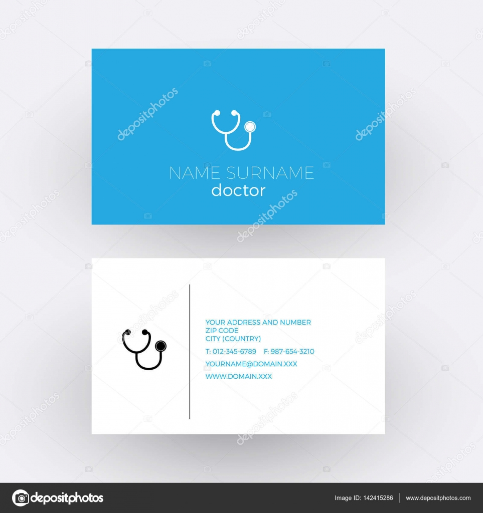 Vector abstract sign stethoscope. Doctor business card — Stock ...
