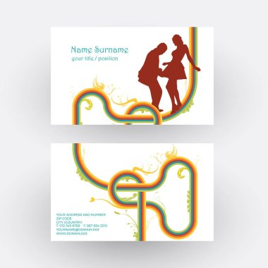Vector abstract dancers, concept of vintage disco. Business card
