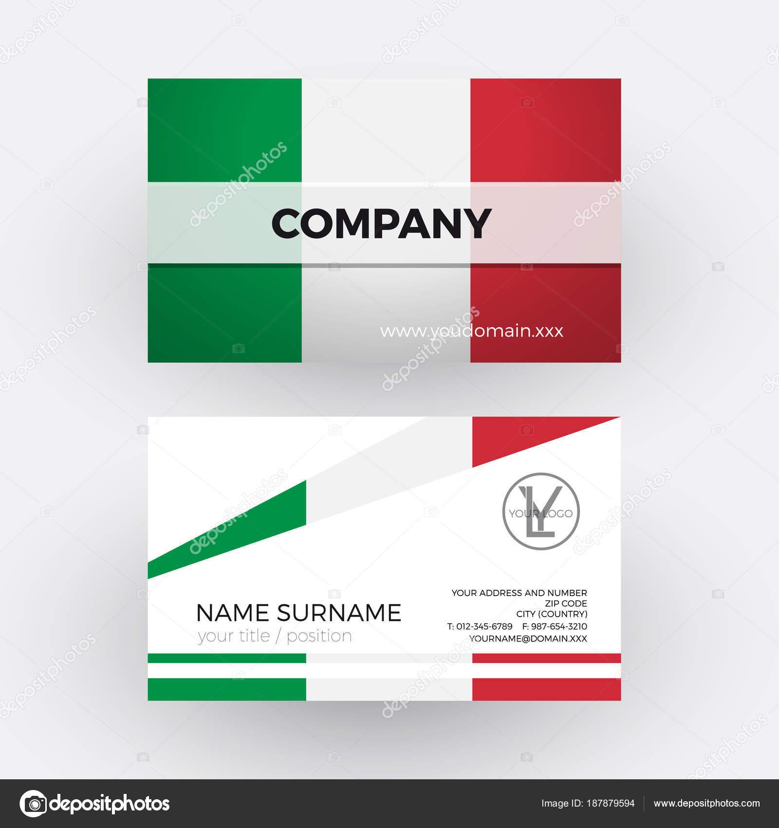 Vector Drapeau Italien Abstraite Carte De Visite Professionnelle Pour Ita Image Vectorielle