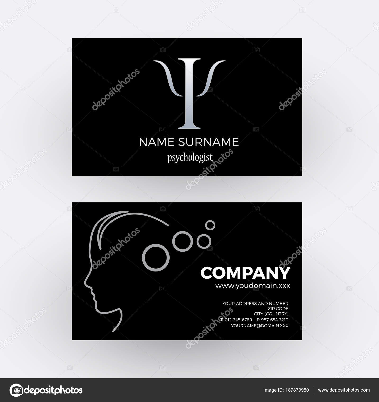 Vector abstract psychologist business card in black stock vector vector abstract psychologist business card in black stock vector colourmoves