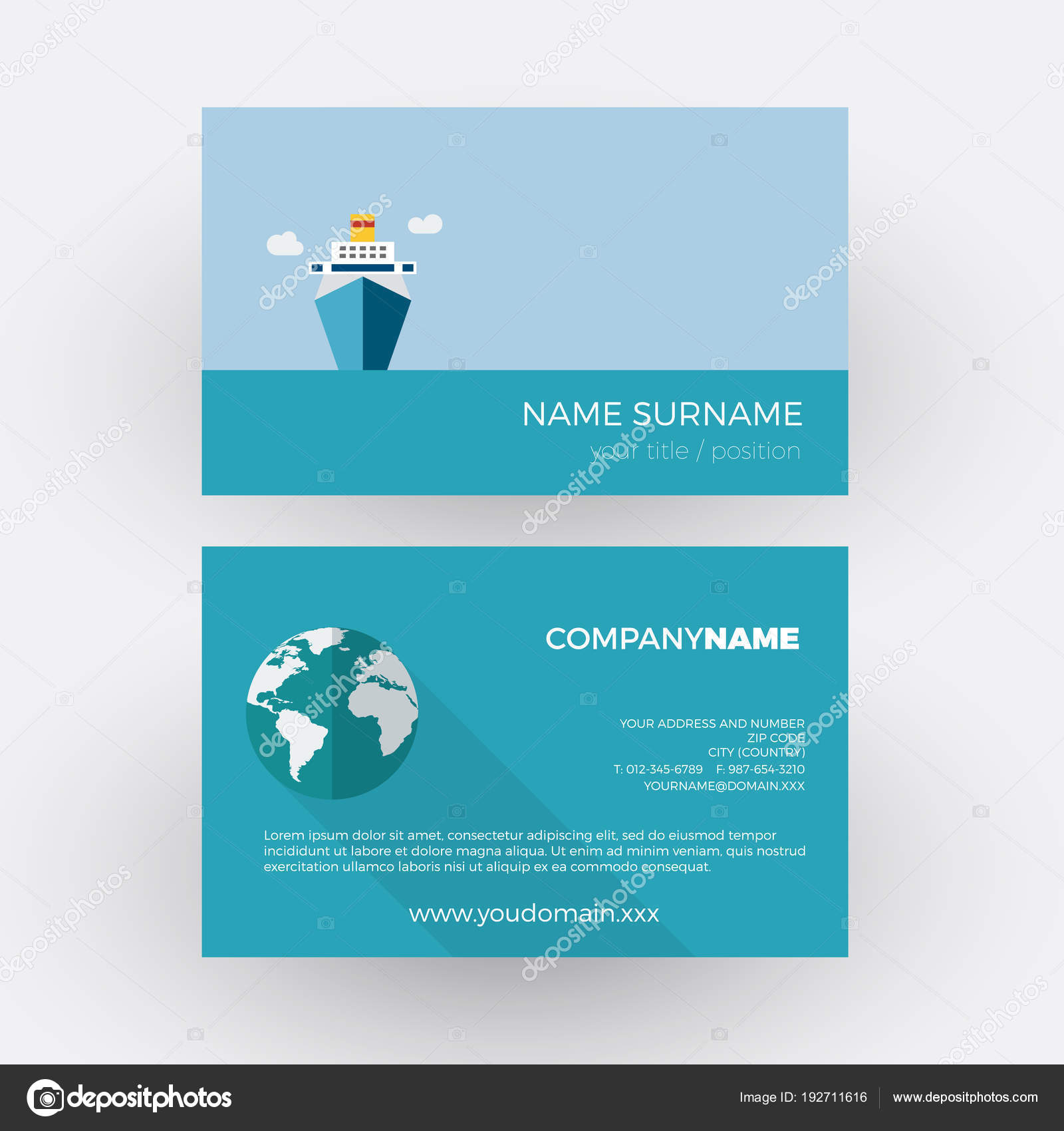 Cruise Ship Travel Agency Vector Professional Business Card