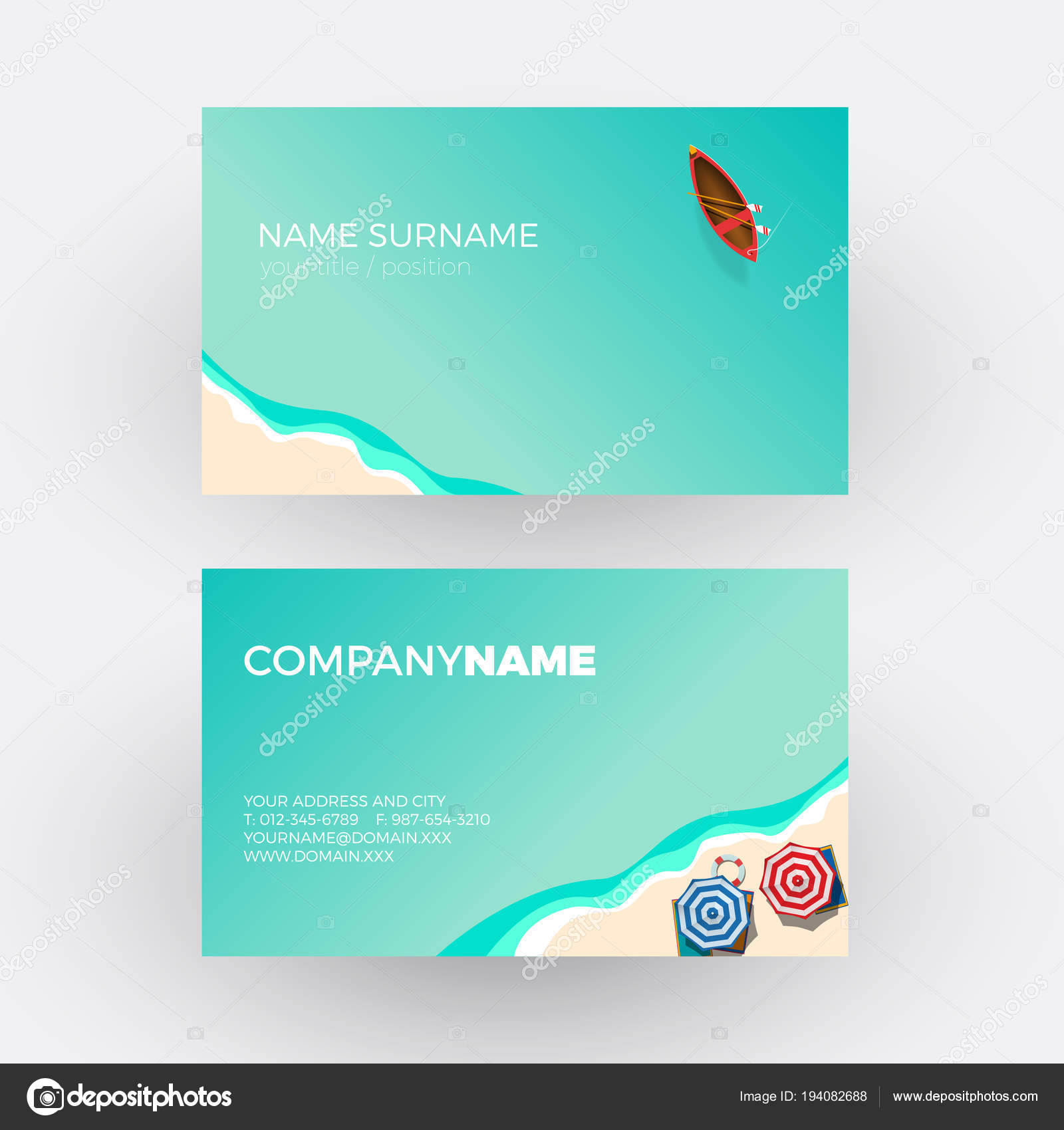 Summer concept, beach and sea. vector professional business card ...