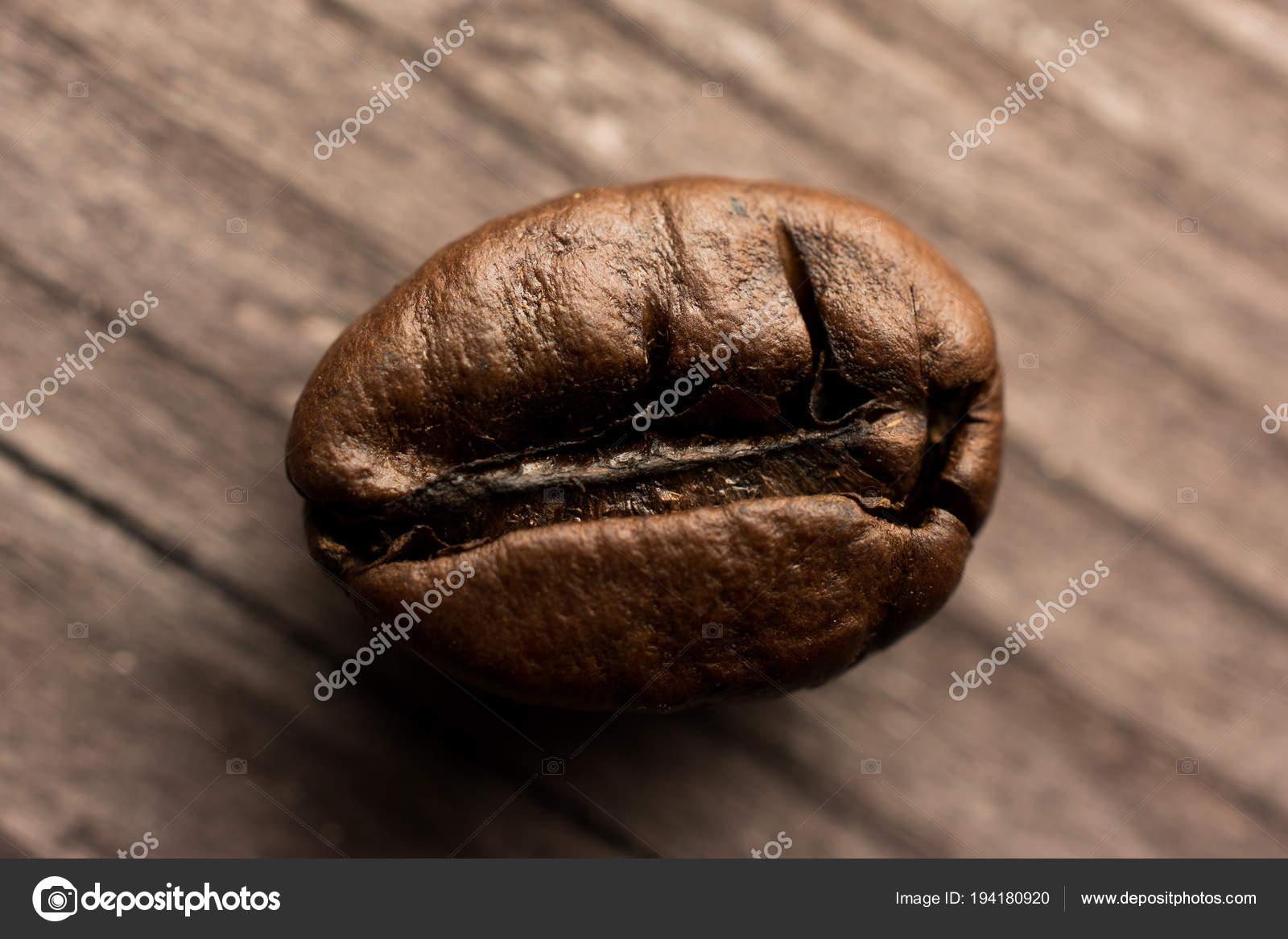 One Coffee Bean On Wooden Board Closeup Stock Photo