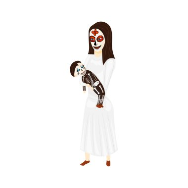 Mother holds a child on the Mexican holiday Day of the Dead or Halloween