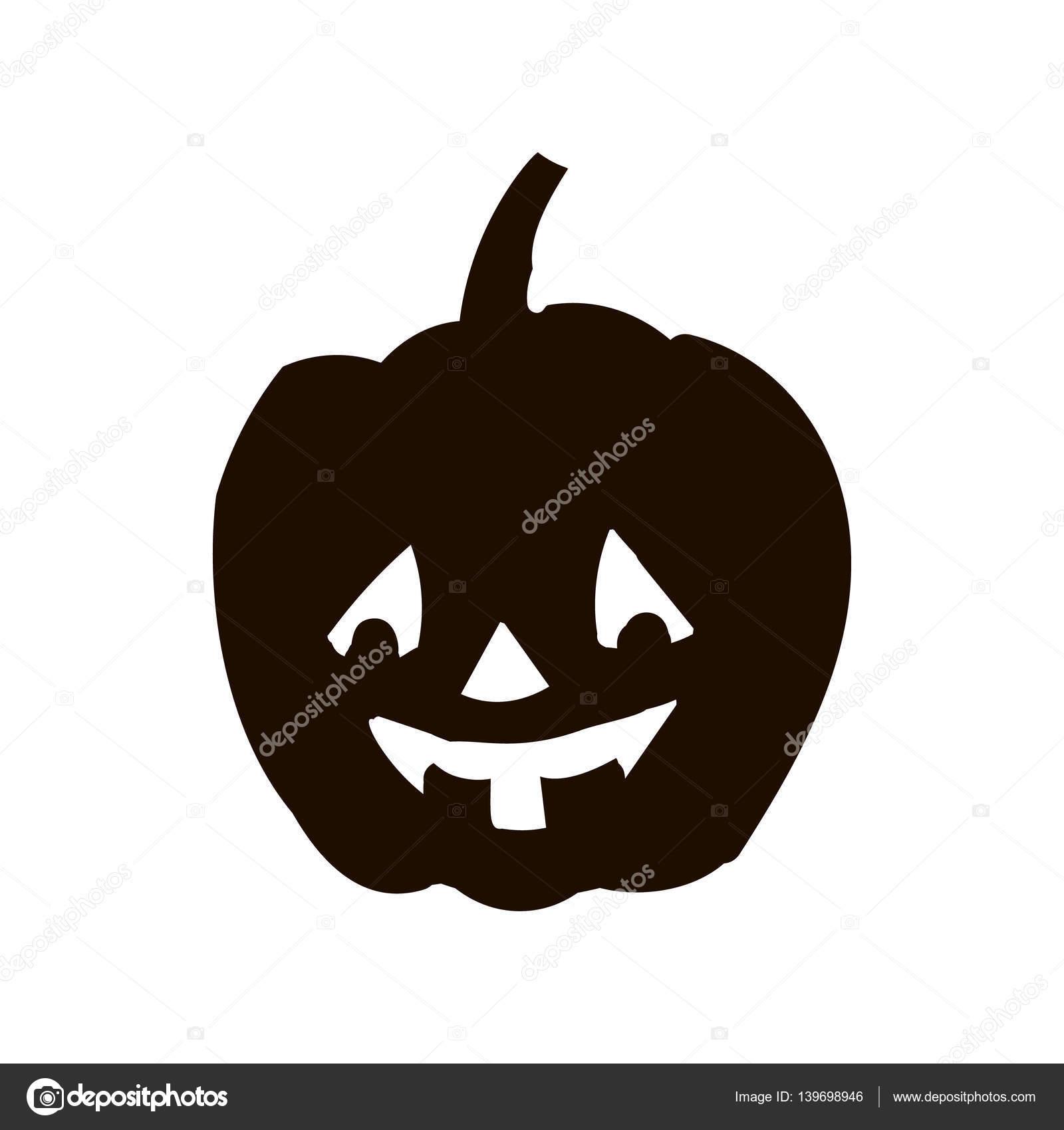 Dag Halloween.Pompoen Silhouet Pictogram Van De Dag Halloween Stockfoto
