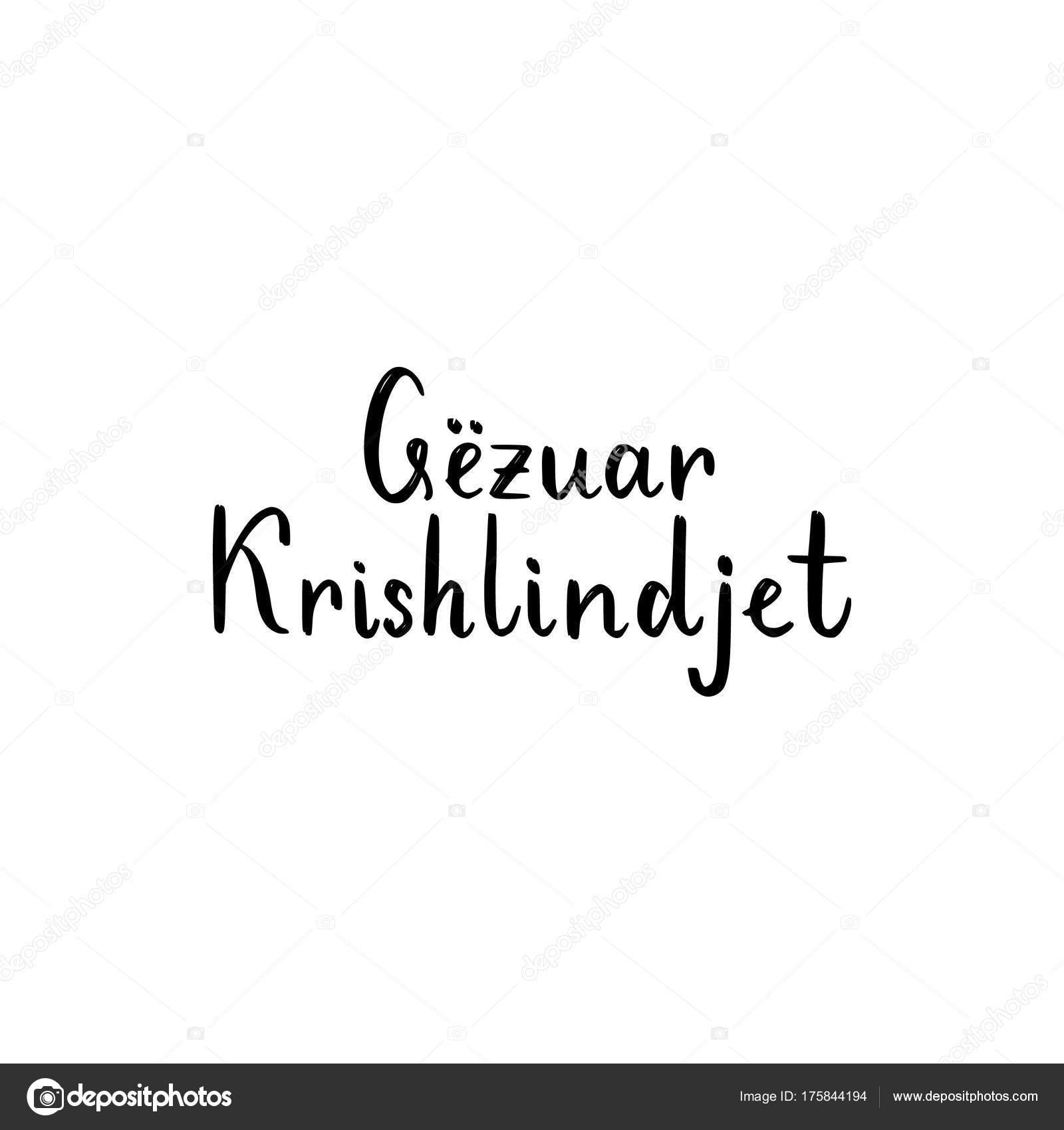 Frohe Weihnachten Albanisch.Frohe Weihnachten Pinsel Schriftzug Auf Albanisch Stockvektor