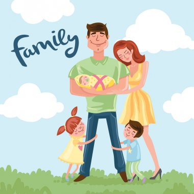 Cartoon Happy family postcard