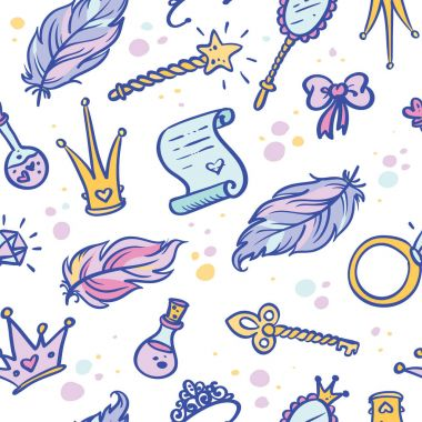 Hand-Drawn Princess Doodle Design Elements pattern. Vector seamless Illustration stock vector