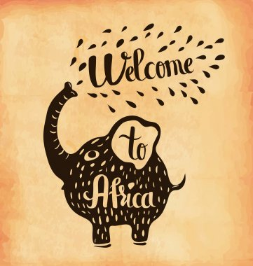 A poster on aged paper. A trip to Africa. Safari. Vector
