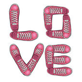 Slova lásky. Sportovní plakát s tenisky. Vektor