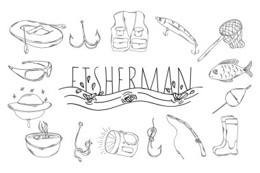 A large collection of linear manual icons for fishing. Vector