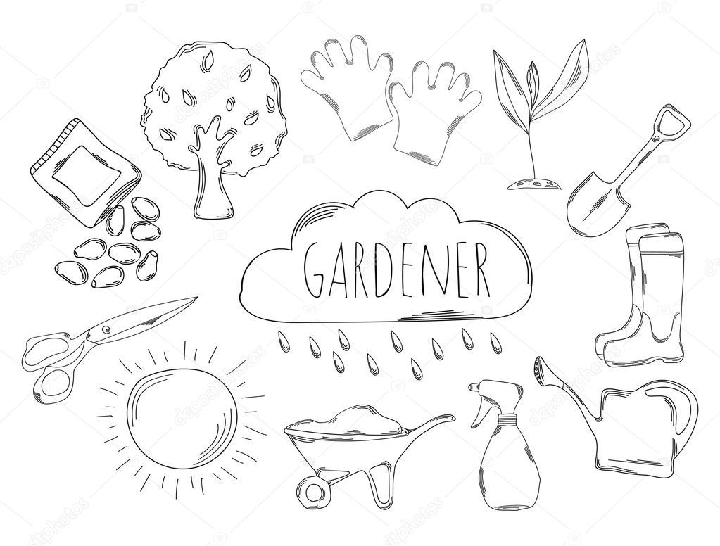 Large collection of line icons in hand drawn style for the profession of gardener. Vector