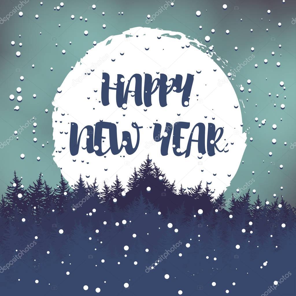 Winter Gruß-Postkarte mit den Wünschen für ein frohes neues Jahr ...