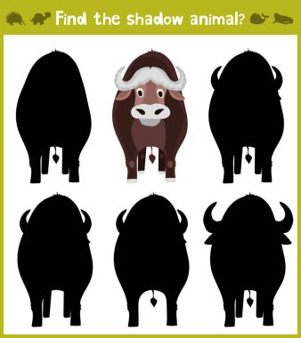 Educational games for children, cartoon for children of preschool age. Find the right shade for Buffalo from Savannah. Vector