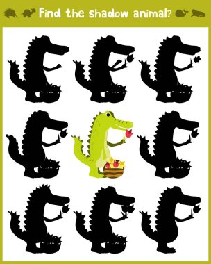 Educational games for children, cartoon for children of preschool age. Find the right shade for wild Amazonian crocodile. Vector