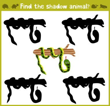 Educational games for children, cartoon for children of preschool age. Find the right shade for wild Amazonian snakes. Vector