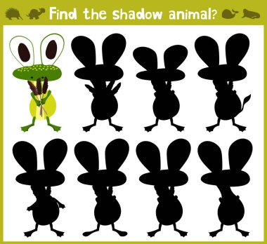 Educational games for children, cartoon for children of preschool age. Find the right shade for swamp frog. Vector