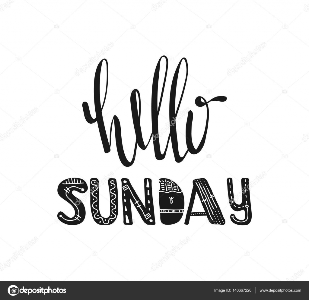 Hello Sunday Hand Drawn Poster Typography Inspirational Quotes