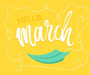 Spring greetings to the month of March design in yellow background with paper origami plane was drawing to a seasonal marketing promotion. Vector .
