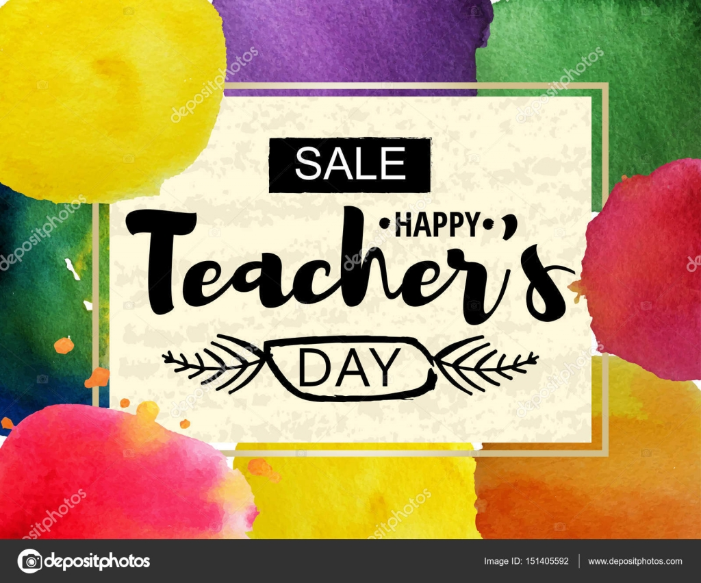 Happy teachers day greeting card frame with the announcement of happy teachers day greeting card frame with the announcement of discounts for the day of kristyandbryce Choice Image