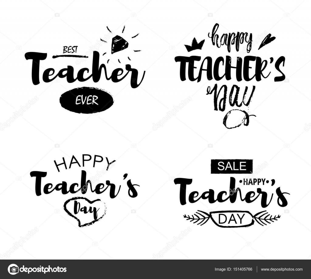 S Enseignant Heureux Jour Salutation Lettrage Citations Isolé Sur
