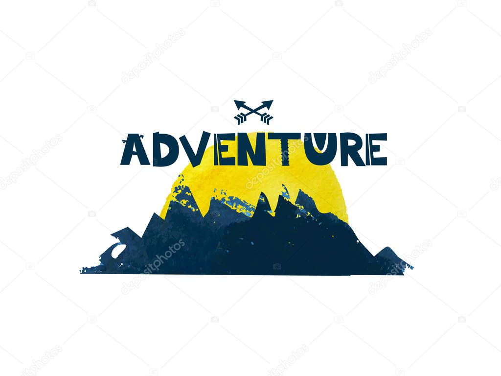 Adventure. Cute lettering text. Watercolor silhouette of the mountains. Vector