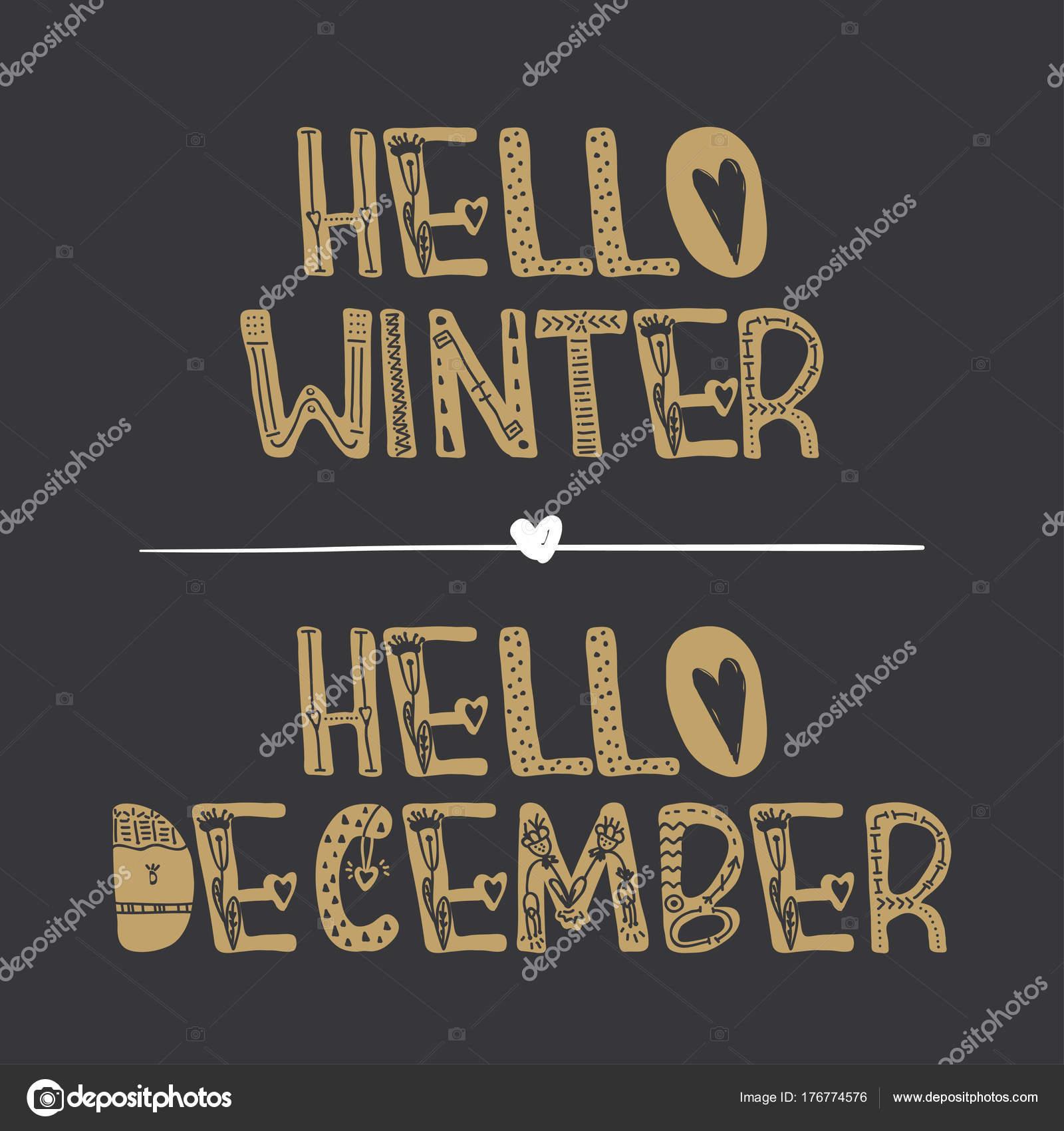 8ccf5bf5b4 Διάνυσμα χέρι διακοσμητικά γράμματα χειμώνα Γεια και γειά σου Δεκεμβρίου.  Για εκτύπωση
