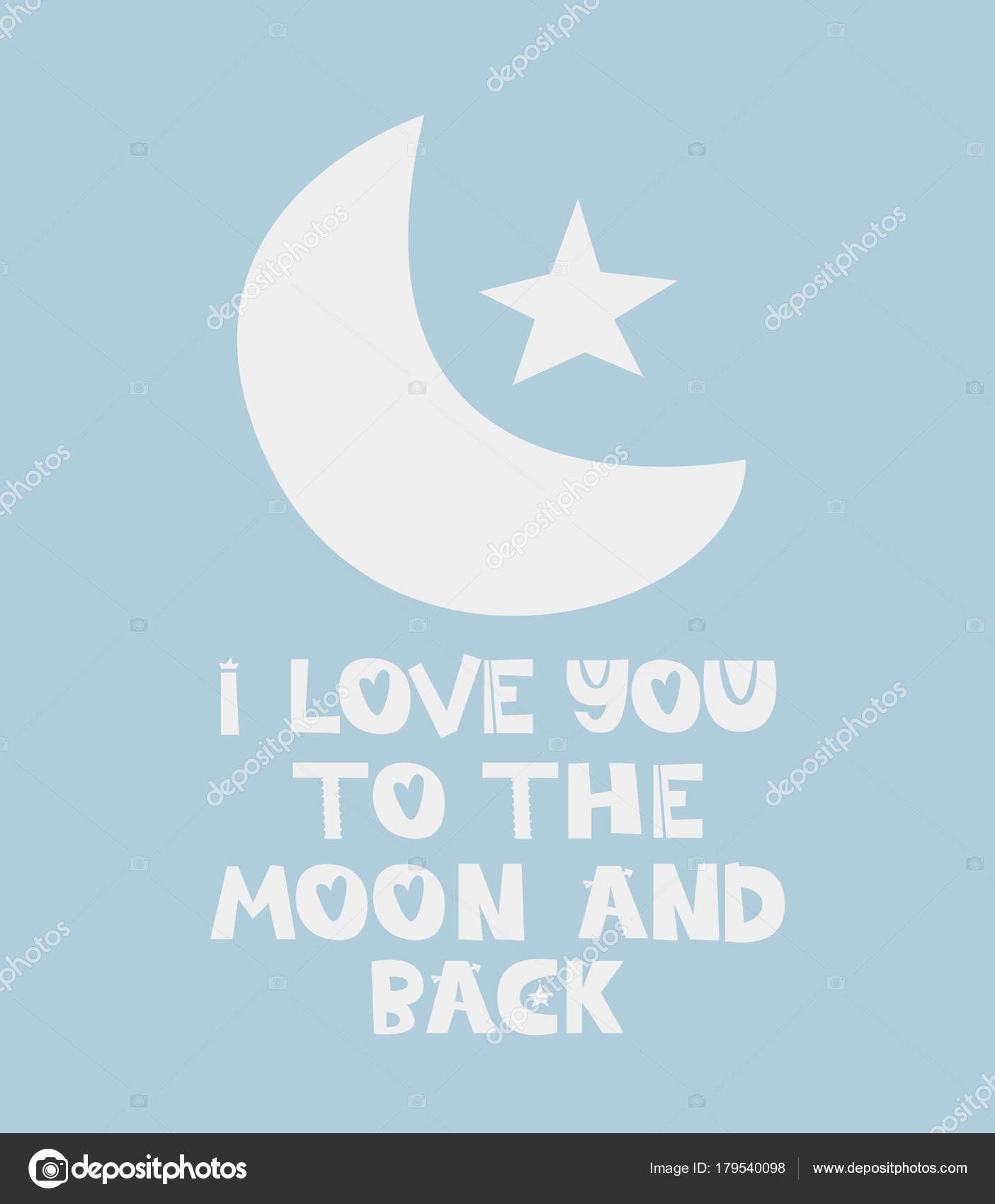 Blickfang Ich Liebe Dich Bis Zum Mond Das Beste Von Und Zurück Zitat — Stockvektor