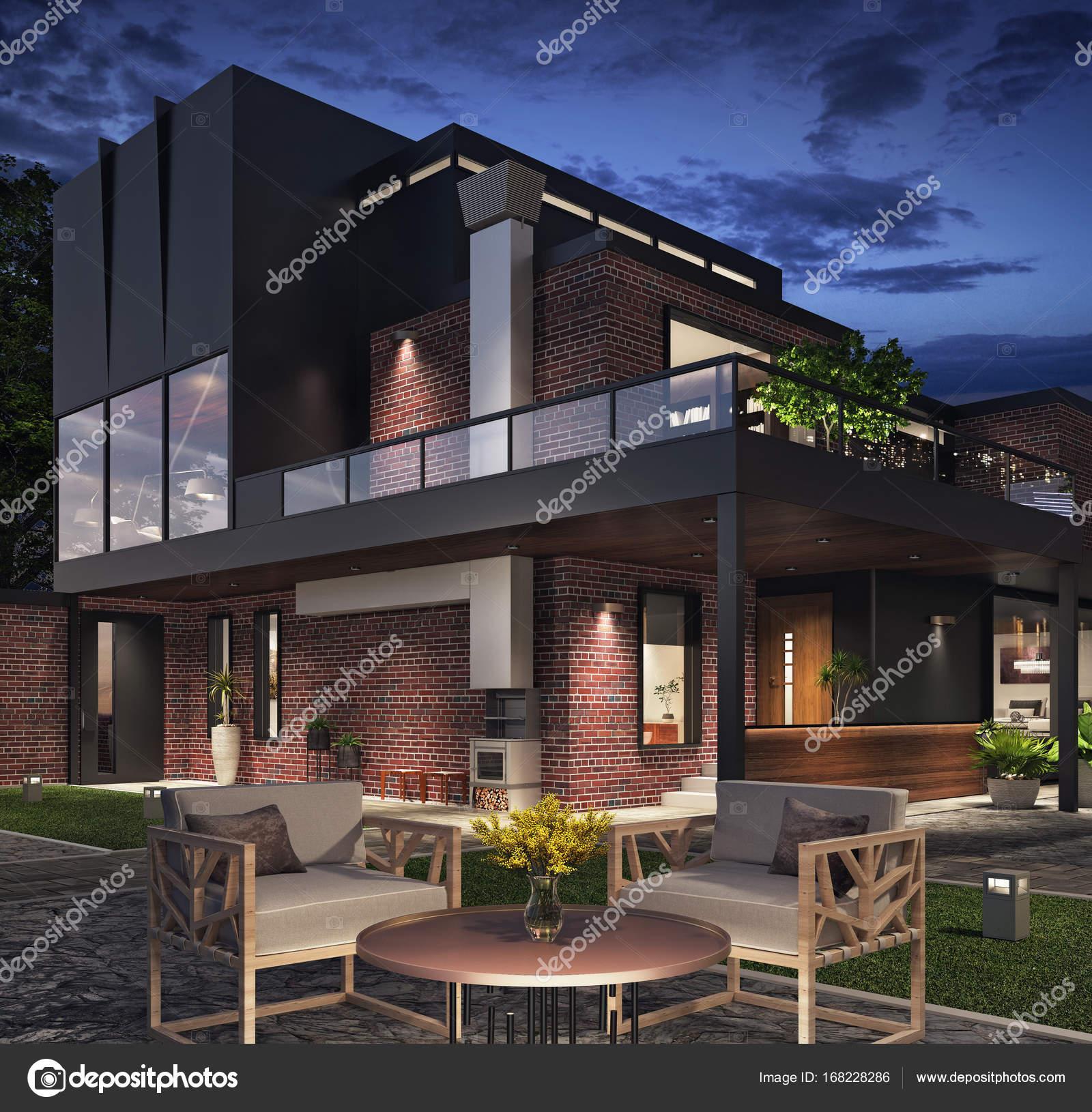 modernes Haus außen — Stockfoto © hd3dsh #168228286