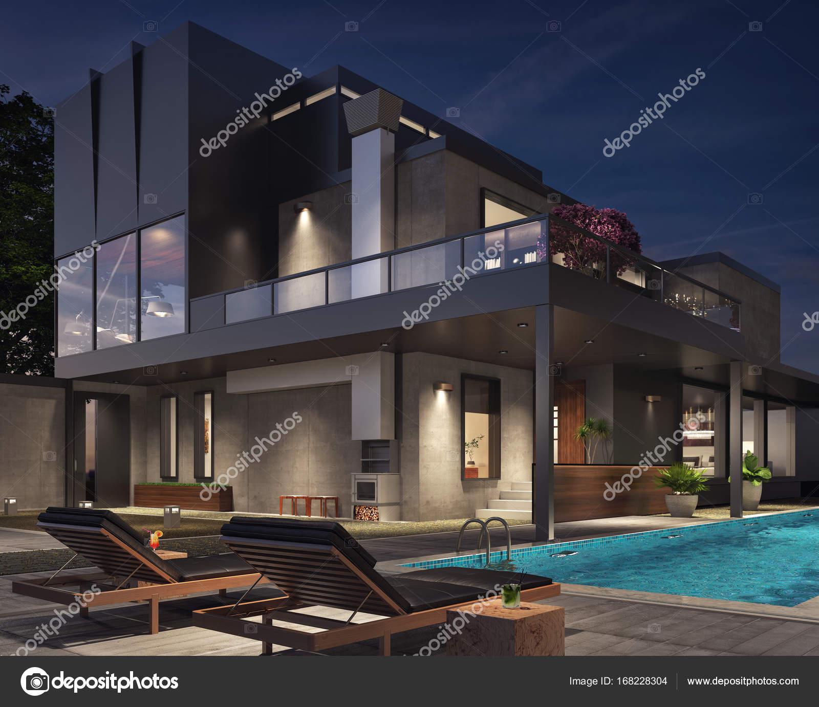 modernes Haus außen — Stockfoto © hd3dsh #168228304