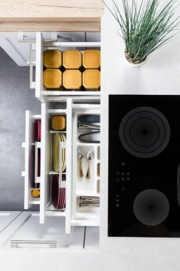 Organized modern kitchen drawers