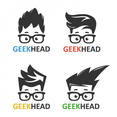 Geeks and nerds vector set of logos