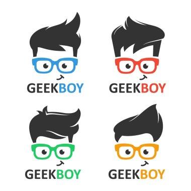 Geek or nerd logo vector set