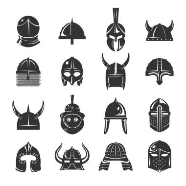 Warrior helmets set of vector icons on white background. Dark silhouettes of helmets of spartans, vikings and samurai. Medieval helmets and protective headgear of knights or soldiers. stock vector