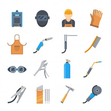 Welding icons in a flat style