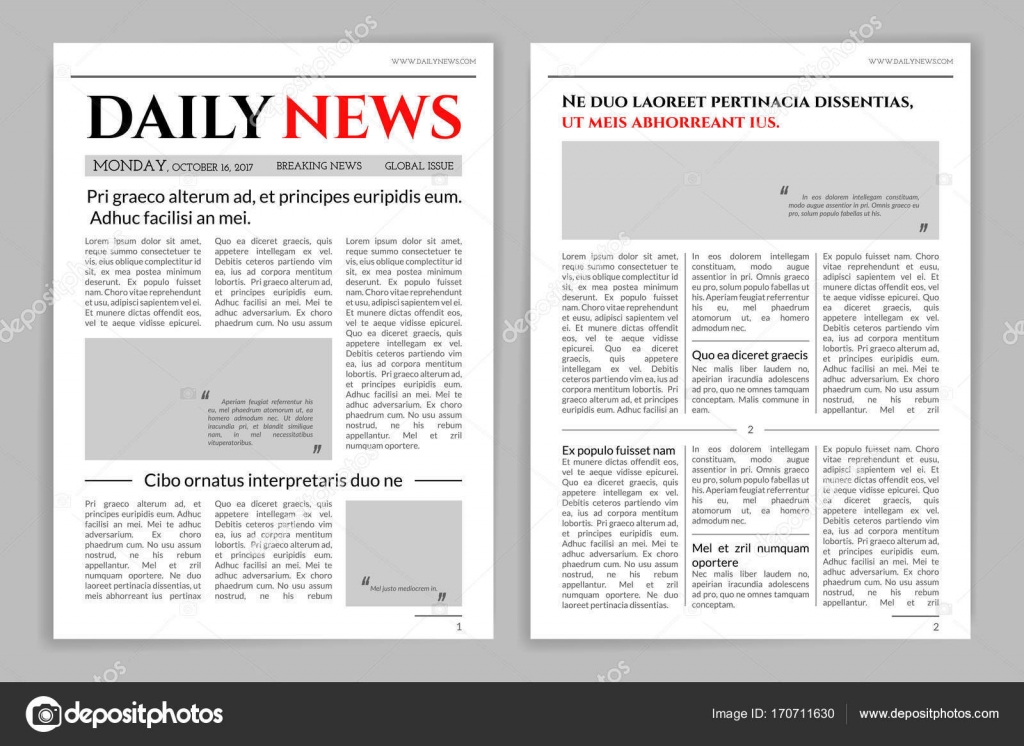 Newspaper Template Design. A Mockup Of A Newspaper Layout For A Business  Promotional News, Typographic Print. Vector Flat Style Cartoon Illustration  ...