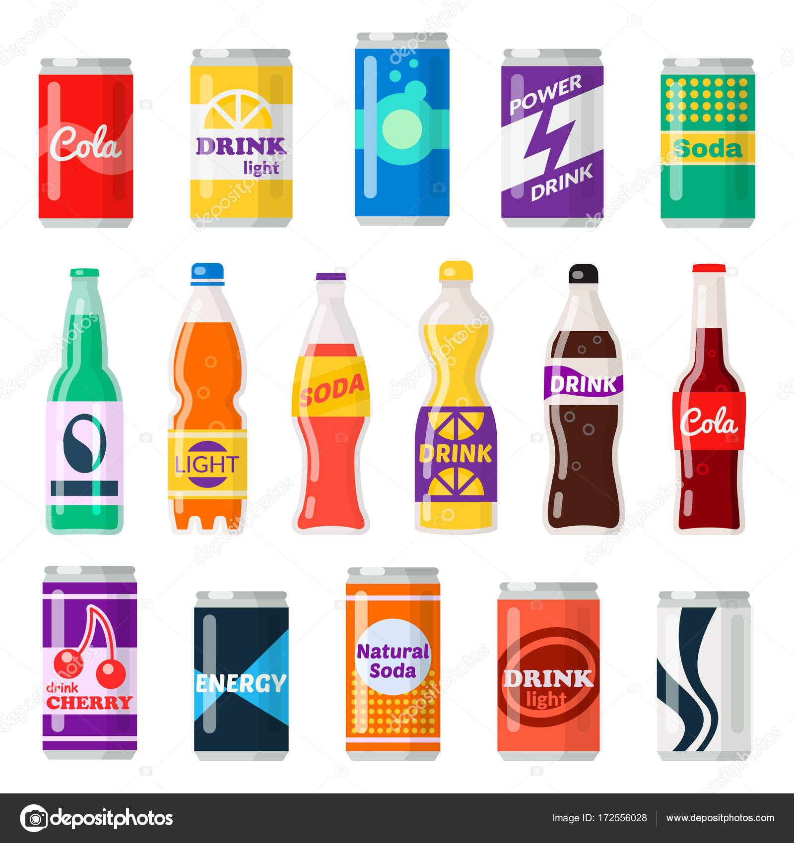 alkoholfreie Getränke-Flaschen — Stockvektor © Axsimen #172556028
