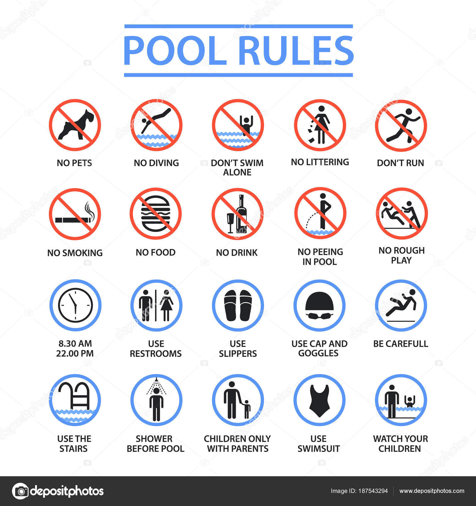 Vector: swimming pool signs | Swimming pool rules — Stock ...
